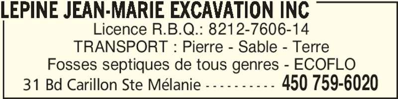 Lépine Jean-Marie Excavation Inc (4507596020) - Annonce illustrée======= -