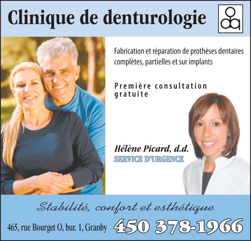 Clinique de Denturologie Hélène Picard (4503781966) - Annonce illustrée======= - 465, rue Bourget O, bur. 1, Granby