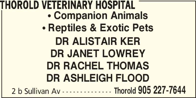 Thorold Veterinary Hospital (905-227-7644) - Display Ad - 2 b Sullivan Av - - - - - - - - - - - - - - Thorold 905 227-7644 THOROLD VETERINARY HOSPITAL π Companion Animals π Reptiles & Exotic Pets DR ALISTAIR KER DR JANET LOWREY DR RACHEL THOMAS DR ASHLEIGH FLOOD