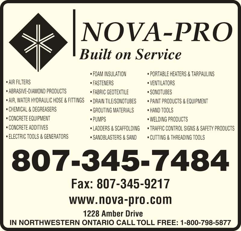 Nova-Pro Industrial Supply Ltd (8073457484) - Display Ad - www.nova-pro.com 807-345-7484 Fax: 807-345-9217