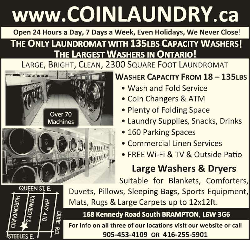Laundromat 24 hour coin brampton on 168 kennedy rd s for 24 hour tanning salon near me