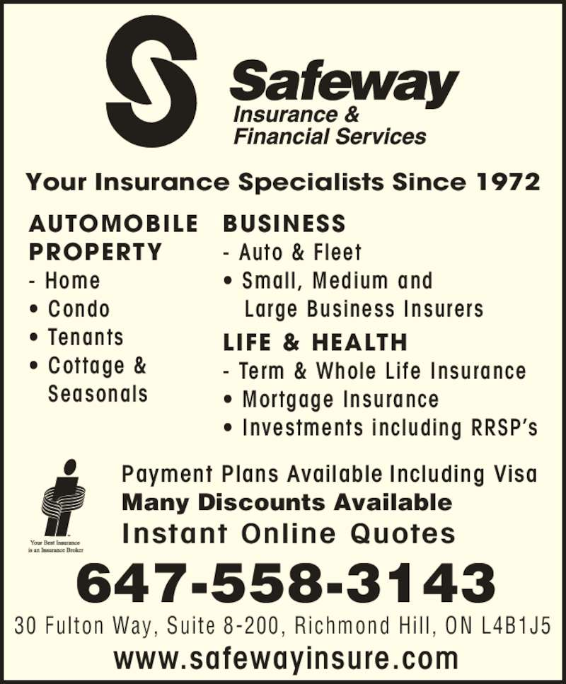 Life Insurance Quotes Whole Life: Safeway Insurance & Financial Services