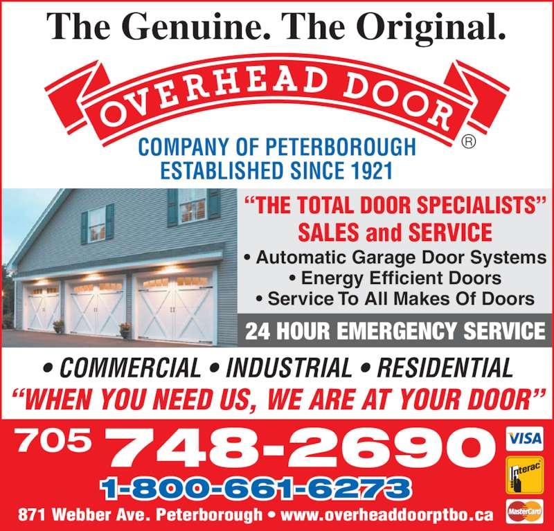The Overhead Door Co Peterborough (705-748-2690) - Display Ad -
