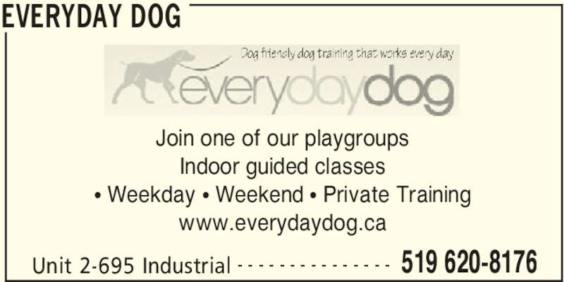 Everyday Dog (519-620-8176) - Display Ad - EVERYDAY DOG Unit 2-695 Industrial 519 620-8176- - - - - - - - - - - - - - - Join one of our playgroups Indoor guided classes π Weekday π Weekend π Private Training www.everydaydog.ca