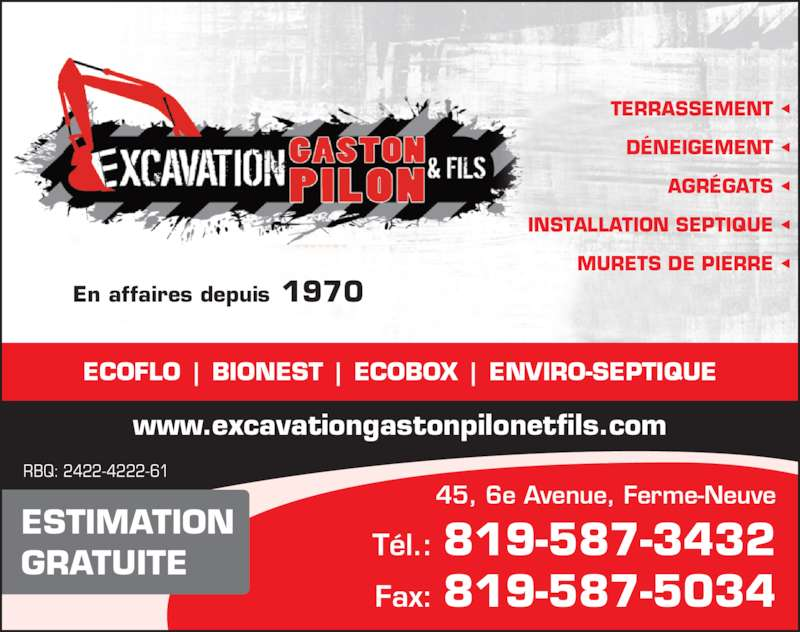 Excavation Gaston Pilon et Fils (819-587-3432) - Annonce illustrée======= -