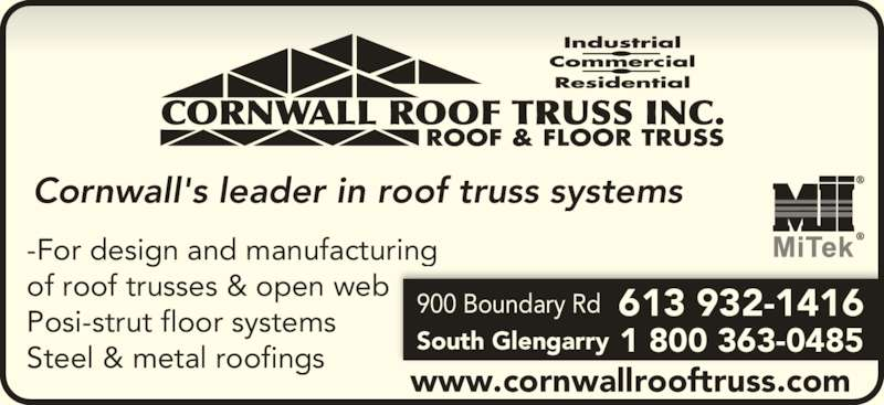Cornwall Roof Truss Ltd Opening Hours 900 Boundary Rd