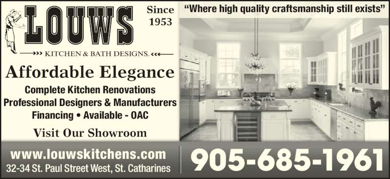 Louws kitchen designs opening hours 34 st paul st w for Cabinex kitchen designs st catharines