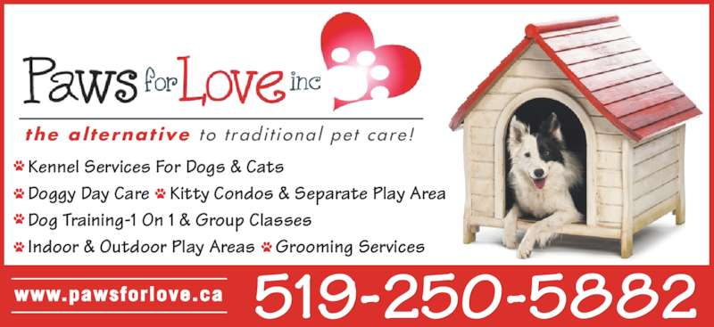 Paws For Love (519-250-5882) - Display Ad - • Kennel Services For Dogs & Cats • Doggy Day Care • Kitty Condos & Separate Play Area • Dog Training-1 On 1 & Group Classes • Indoor & Outdoor Play Areas • Grooming Services 519-250-5882www.pawsforlove.ca the al ternat ive t o  t rad i t iona l  pe t  care !