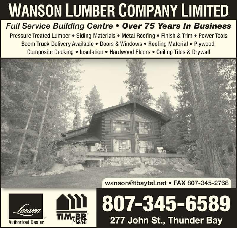 Wanson Lumber Company Limited Thunder Bay On 277 John
