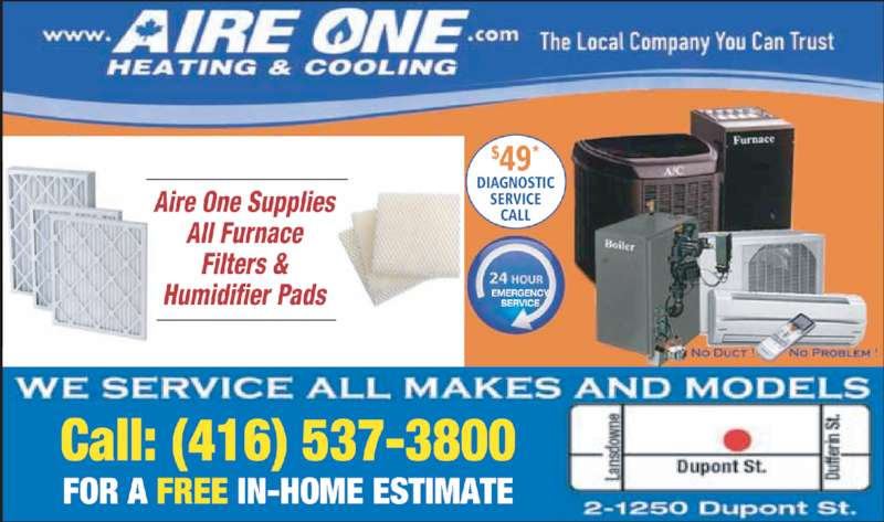 Aire One Heating & Cooling Inc (416-537-3800) - Display Ad -