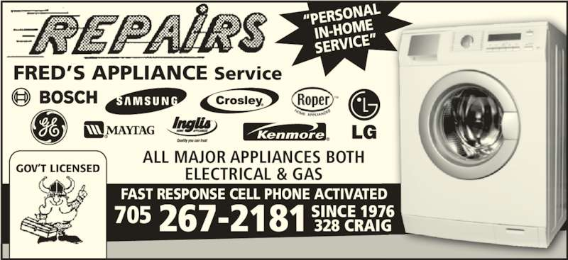 Fred S Appliance Service Timmins On 328 Craig St