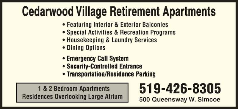 ad Cedarwood Village Retirement Apartments & Nursing Home