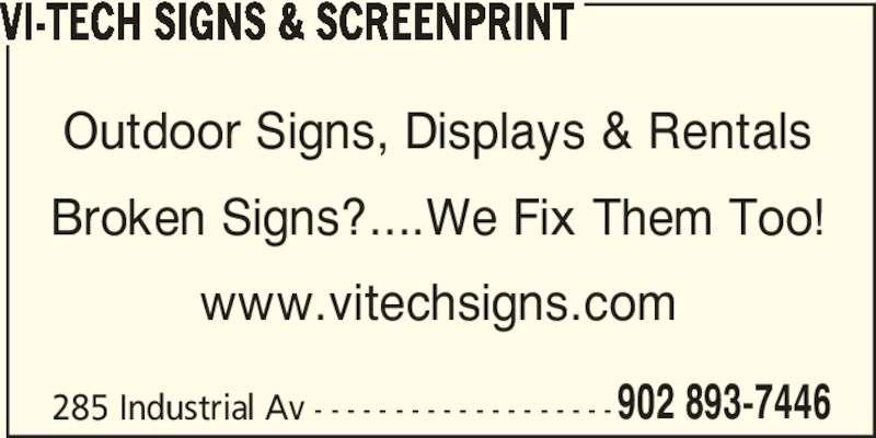 ad Vi-Tech Signs & Screenprint