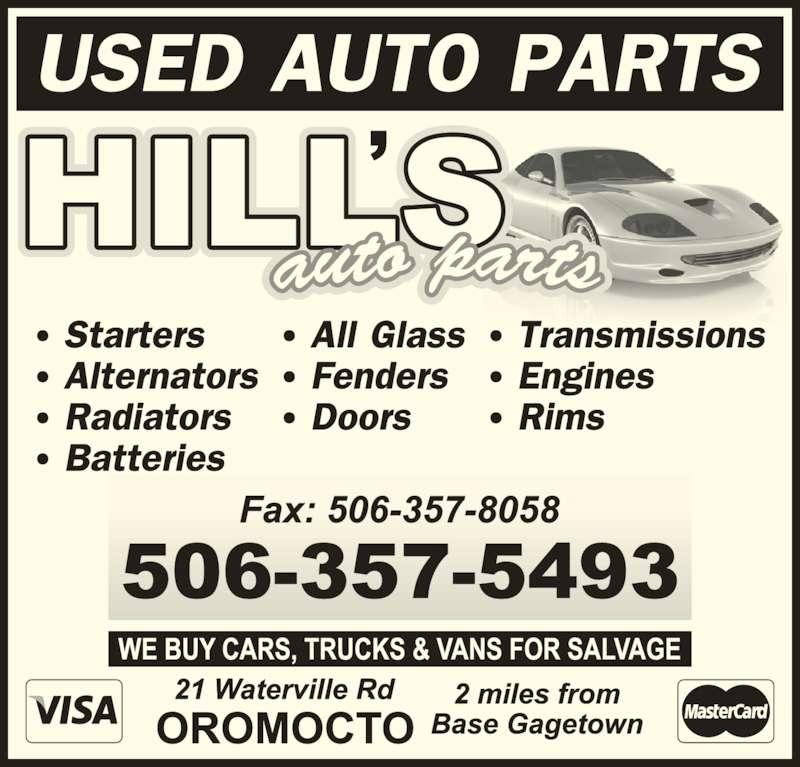 Hill's Auto Parts (506-357-5493) - Display Ad -