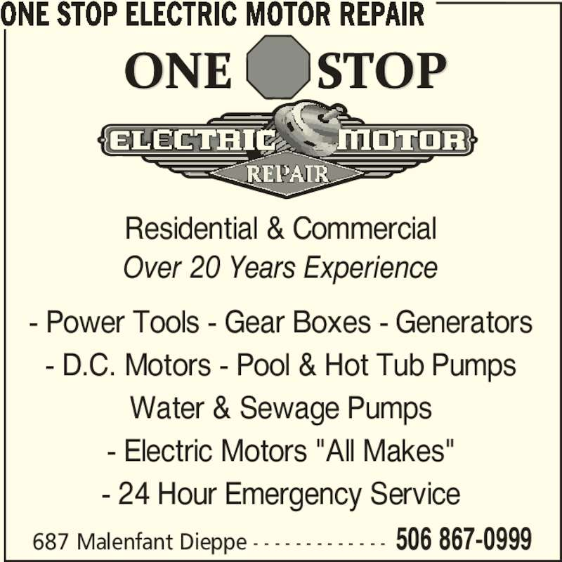 One stop electric motor repair opening hours 687 boul for Electric motor repair company