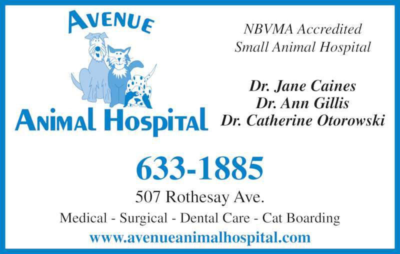 Avenue Animal Hospital Ltd (506-633-1885) - Display Ad - 633-1885 NBVMA Accredited Small Animal Hospital Dr. Jane Caines Dr. Ann Gillis Dr. Catherine Otorowski www.avenueanimalhospital.com Medical - Surgical - Dental Care - Cat Boarding 507 Rothesay Ave.