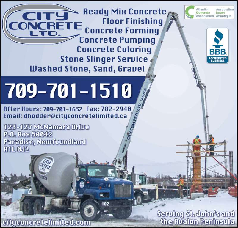 City Concrete (709-782-2222) - Display Ad -