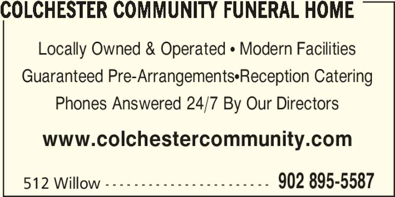 Ads Colchester Community Funeral Home