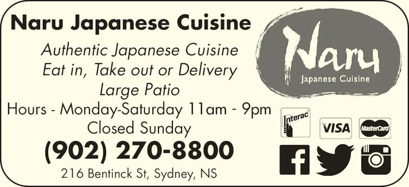 Naru japanese cuisine opening hours 216 bentinck st for Asian cuisine hours