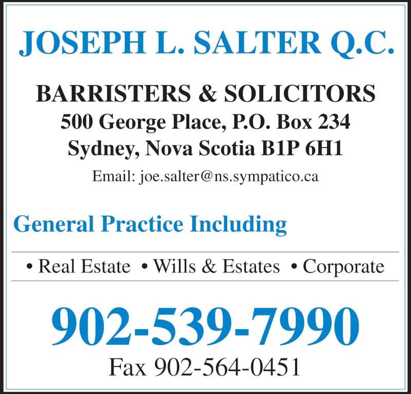 Salter Joseph L QC (9025397990) - Display Ad - 902-539-7990 Fax 902-564-0451