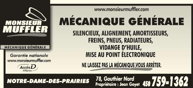 Monsieur Muffler (450-759-1362) - Annonce illustrée======= -