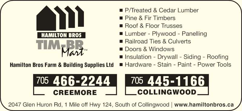 Hamilton Bros Farm Amp Building Supplies Ltd Timber Mart