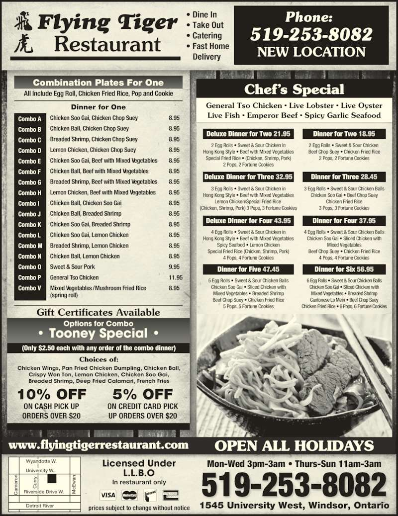 Flying Tiger Restaurant (519-253-8082) - Display Ad -