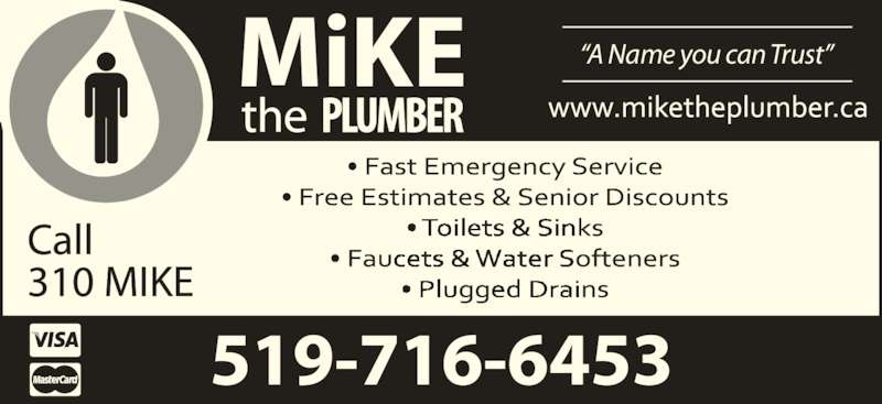 """Mike The Plumber (519-716-6453) - Display Ad - """"A Name you can Trust"""""""