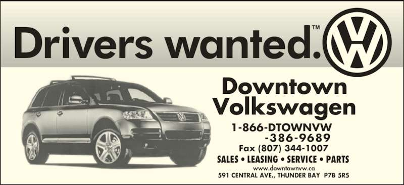 Volkswagen Downtown Toronto >> Downtown Volkswagen - Thunder Bay, ON - 591 Central Ave ...