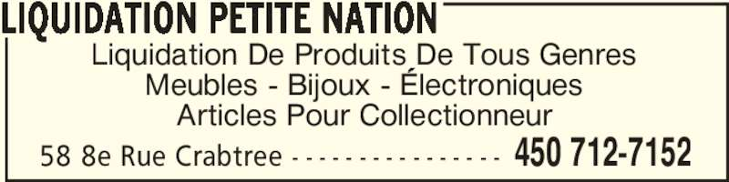 Liquidation petite nation crabtree qc 58 8e rue for Centre de liquidation de meubles montreal