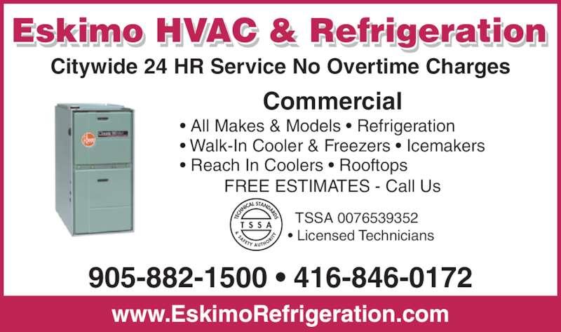 Eskimo Hvac Amp Refrigeration Inc Opening Hours Ua1 101