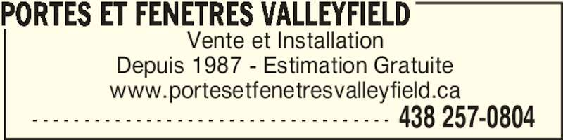 Portes et fen tres valleyfield inc salaberry de for Porte et fenetre valleyfield