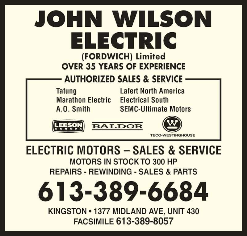 John Wilson Electric 1377 Midland Ave Kingston On