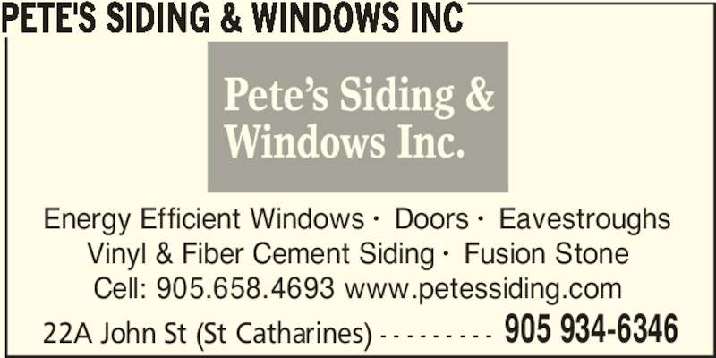 Pete S Siding Amp Windows Inc St Catharines On 22a John