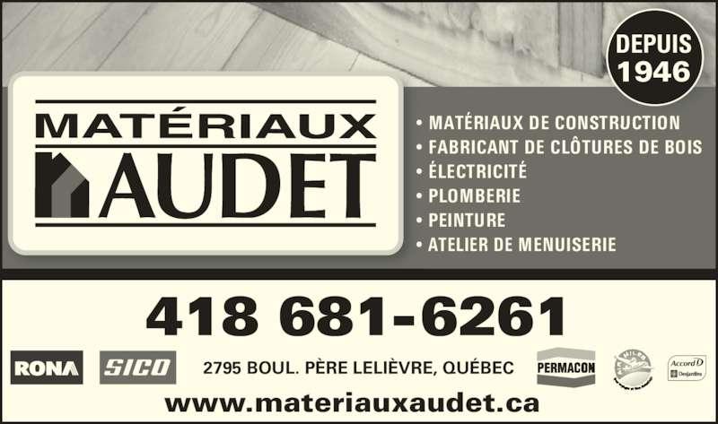 Matériaux Audet - Rona Matériaux (418-681-6261) - Display Ad -