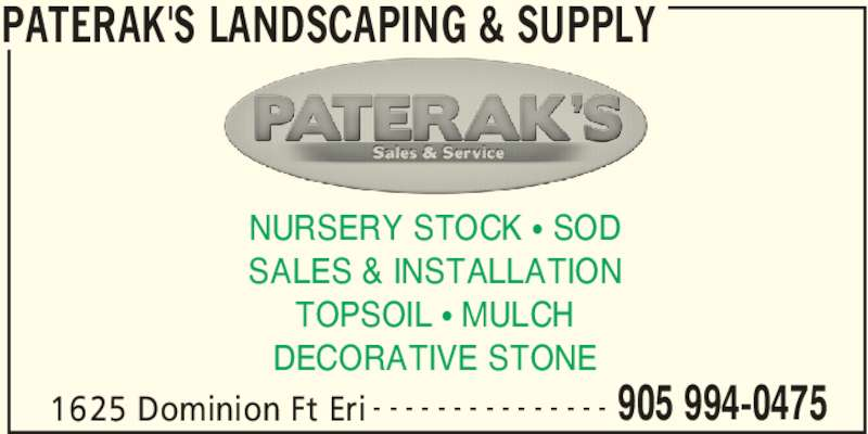 ad Paterak's Landscaping & Supply