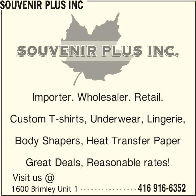 Souvenir Plus Inc (416-916-6352) - Annonce illustrée======= -
