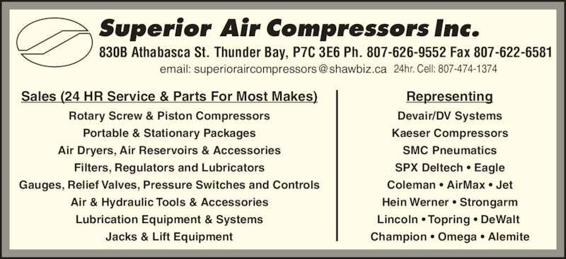 Superior Air Compressors Inc Opening Hours 830