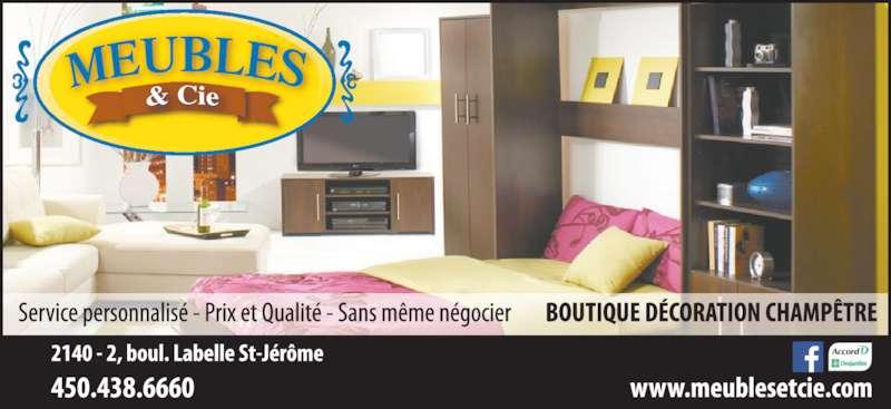 Meubles Et Cie (450-438-6660) - Annonce illustrée======= -