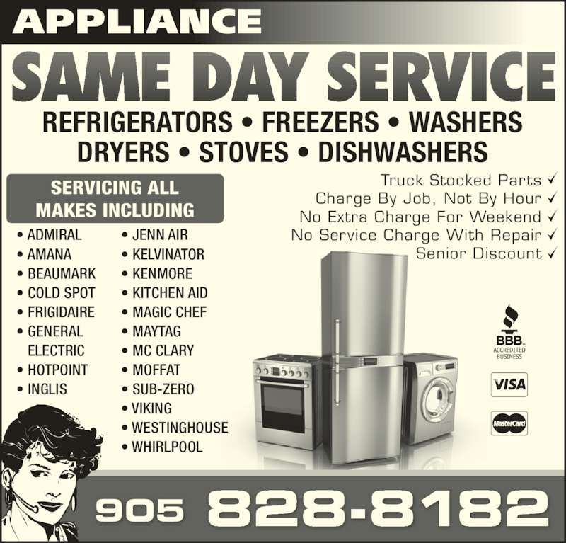 Appliance Same Day Service Canpages