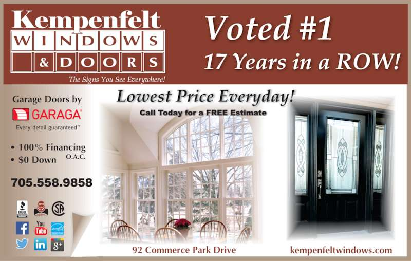 kempenfelt windows doors barrie on 92 commerce park dr canpages. Black Bedroom Furniture Sets. Home Design Ideas