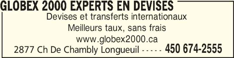 Globex 2000 experts en devises horaire d 39 ouverture - Bureau de change sans frais ...
