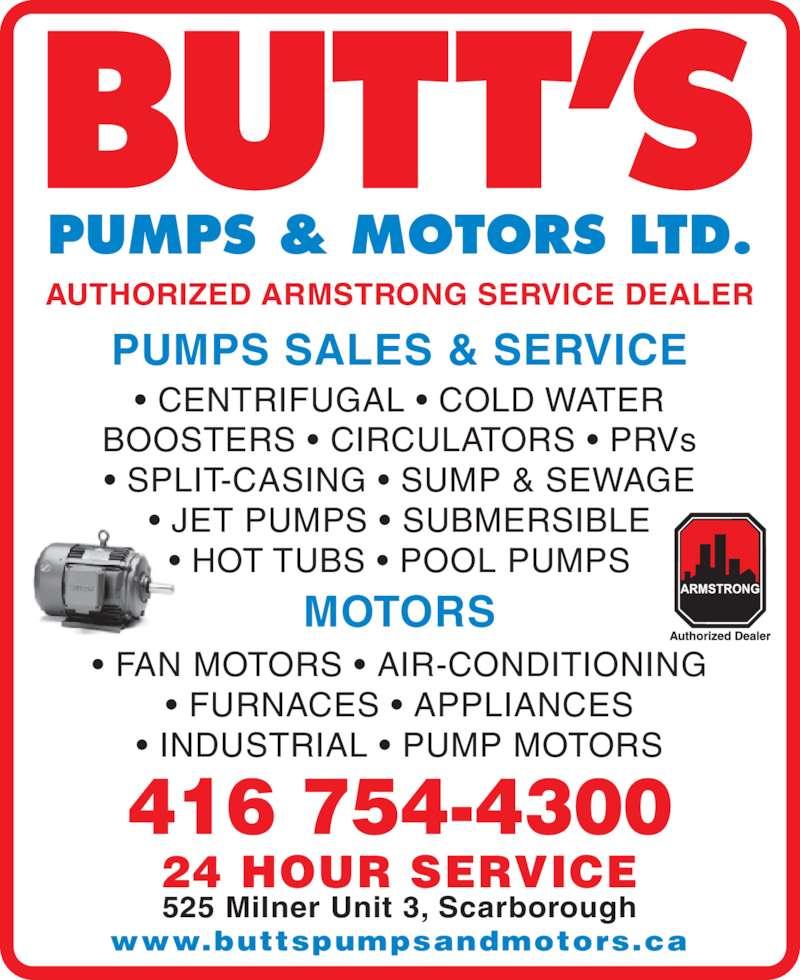 butts pumps amp motors ltd scarborough on 525 milner