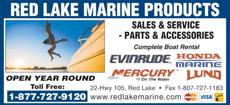 Red Lake Marine Products (807-727-2747) - Annonce illustrée======= -