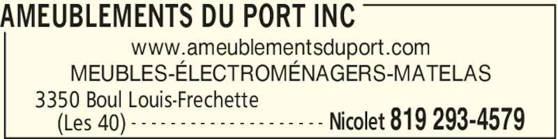 Ameublements du port inc nicolet qc 3350 boul louis for Meuble jaymar montreal
