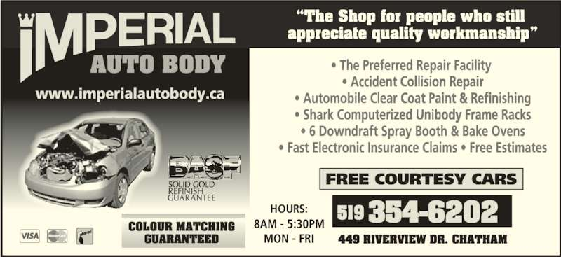 Imperial Auto Body (519-354-6202) - Display Ad - HOURS: