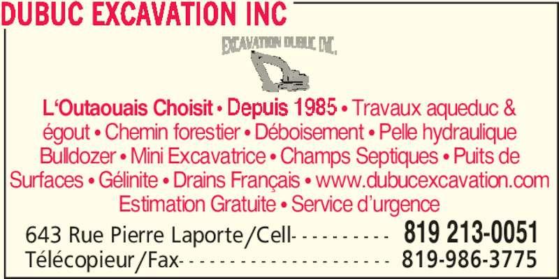 Dubuc Excavation Inc (8192130051) - Annonce illustrée======= -