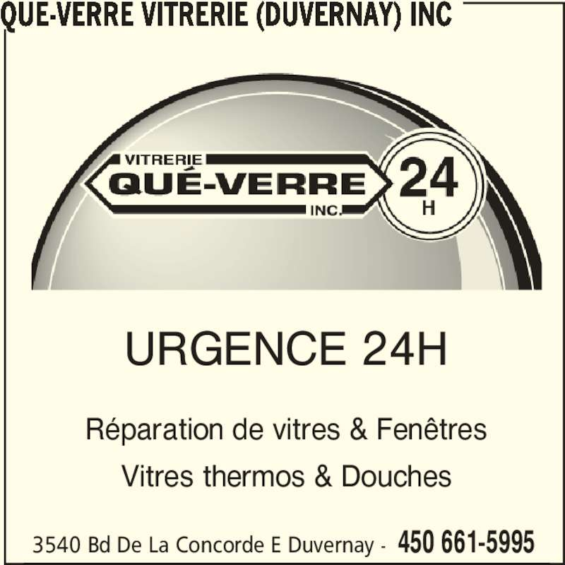 Qu verre vitrerie duvernay inc laval qc 3540 boul for Reparation fenetre montreal