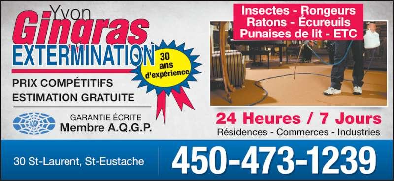 Yvon Gingras Extermination (450-473-1239) - Annonce illustrée======= - Ratons - Écureuils Punaises de lit - ETC GARANTIE ÉCRITE Membre A.Q.G.P. 24 Heures / 7 Jours Résidences - Commerces - Industries PRIX COMPÉTITIFS ESTIMATION GRATUITE 450-473-123930 St-Laurent, St-Eustache Insectes - Rongeurs
