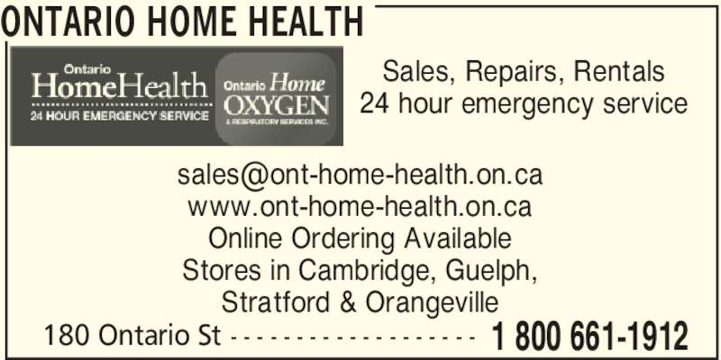 Ontario Home Oxygen Health Opening Hours 180 Ontario St Stratford On
